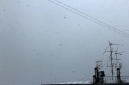 Antenas on the roof snow
